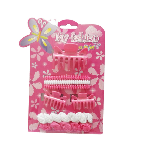8pcs Kids Hair Accessories Set With Display Box, Pink