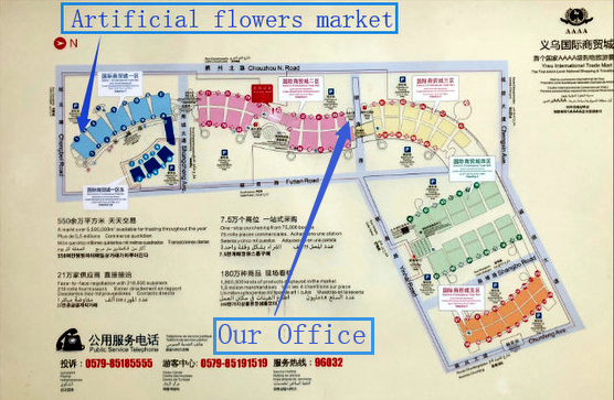Artificial flowers market location and our office location