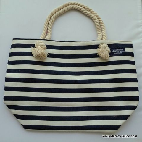 cotton blue white stripe beach bag private label