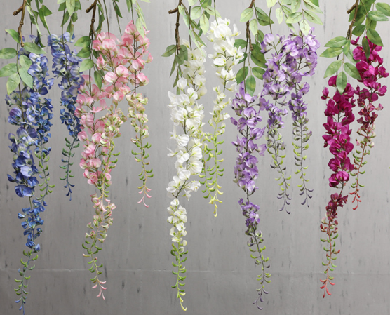 Extra large Wisteria artificial flowers, adult size, wholesale in Yiwu, China. 5 colors