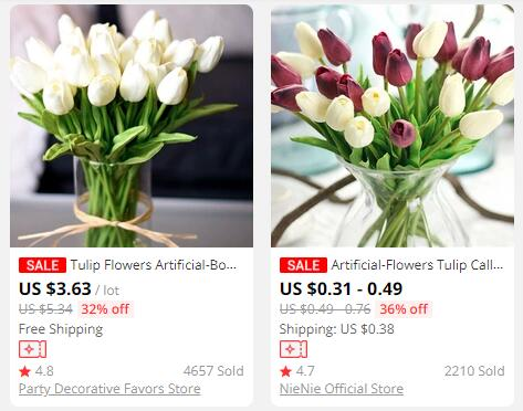 real touch tulips aliexpress pricing