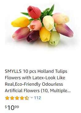 Single real touch tulips on Amazon for 1.10USD
