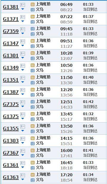 shanghai-yiwu-fast-train-timetable 1