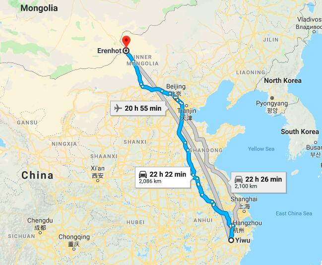 shipping from Yiwu to Erenhot