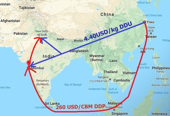 Shipping cost Yiwu to India, Mumbai, New Delhi