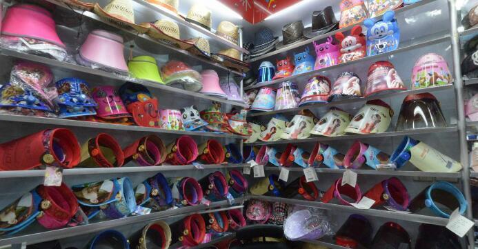 A sun visor hats showroom inside yiwu market