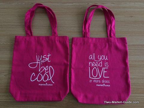 tote shopping bag with logo printing, pink