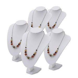 white pu necklace display