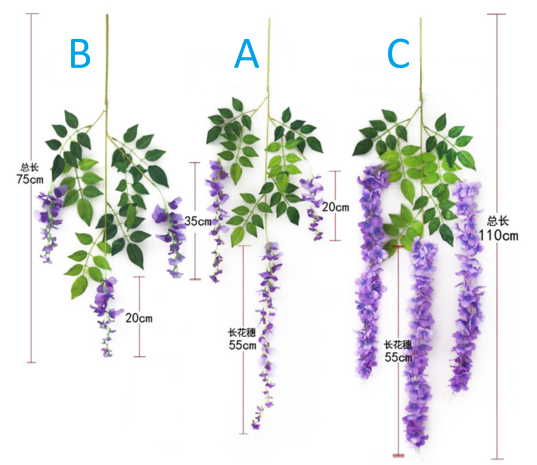 3 Best seller wisteria wholesale in Yiwu China, for hang up / garland purpose