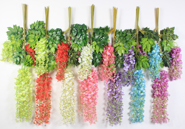 Top 1 best seller wisteria artificial flowers wholesale Yiwu China for hang up / garlands, all 7 colors