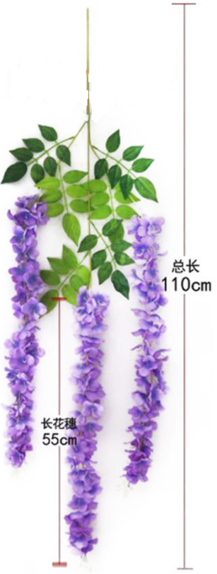 New lush version wisteria artificial flowers wholesale in Yiwu China, for hang up / garland usage