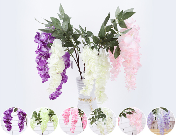 Wisteria artificial flowers wholesale in Yiwu, China, for input / vase purpose, all colors.