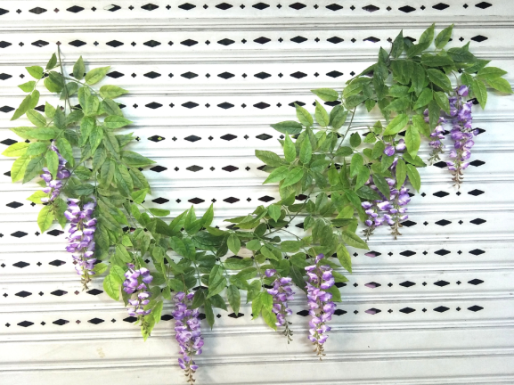 Wisteria artificial flowers (10 flowers version) wholesale in Yiwu, China, for twine with rattan purpose