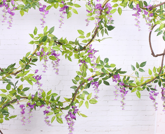 Wisteria artificial flowers (5 flowers version) wholesale in Yiwu, China, for twine with rattan purpose