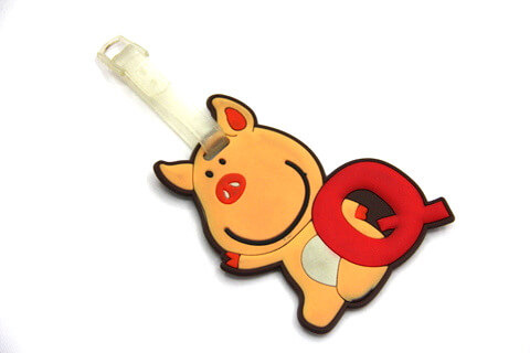 Silicone/Rubber luggage tags, cartoon, pig, #02001-004