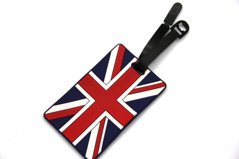 Silicone/Rubber Luggage tags of National Flag, UK, #02002-001