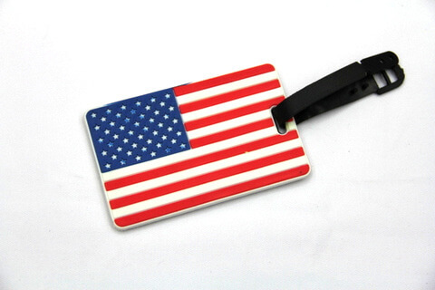 Silicone/Rubber Luggage tags of National Flag, US, #02002-006