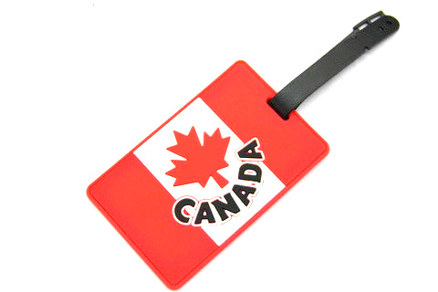 Silicone/Rubber Luggage tags of National Flag, Canada, #02002-010