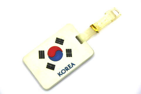 Silicone/Rubber Luggage tags of National Flag, Korea, #02002-011