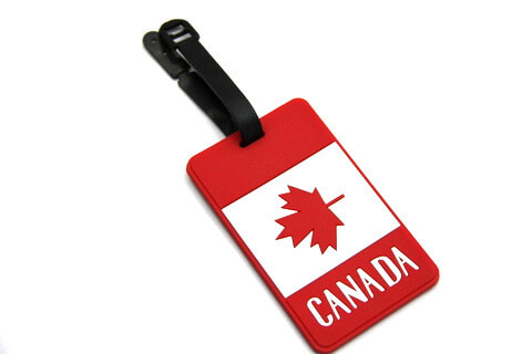 Silicone/Rubber Luggage tags of National Flag, Canada, #02002-017