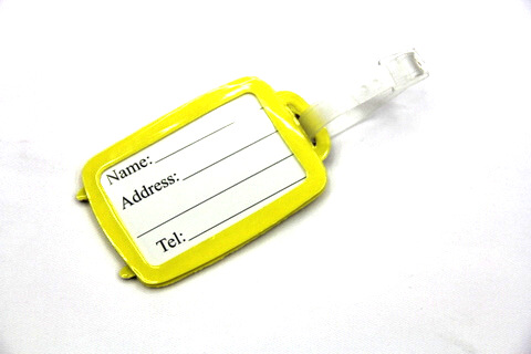 Silicone/Rubber luggage tags for tourist souvenir & gifts, luggage shape, backside, #02003-044-2