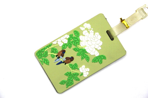 Silicone/Rubber luggage tags for tourist souvenir & gifts, China culture - flower and bird / 菊 , #02005-034