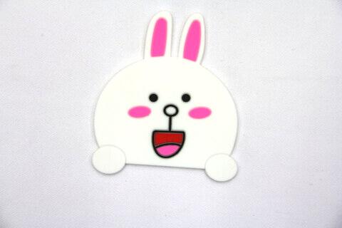 Custom Silicone/Rubber Coasters Cartoon Rabbit  #02008-009