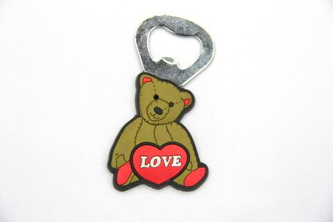 Silicone/rubber bottle opener bear #02015-023