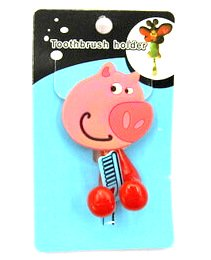 Silicone/Rubber toothbrush holder cartoon pig #02020-007