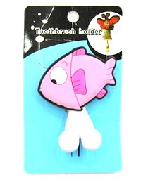 Silicone/Rubber toothbrush holder cartoon fish #02020-009