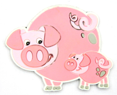 Silicone/Rubber fridge magnets Cute cartoon animals pig #02021-003