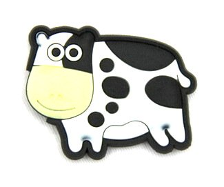 Silicone/Rubber fridge magnets Cute cartoon animals cow #02021-014