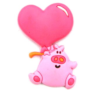 Silicone/Rubber fridge magnets Cute cartoon animals pig with love heart #02021-017