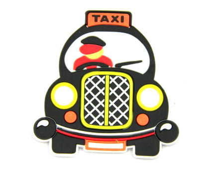 Silicone/Rubber fridge magnets cute cartoon taxi #02022-013