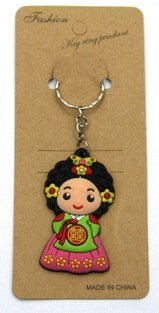 silicone key chain tourists souvenir Korean girl #02026-021