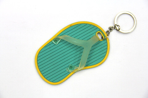 Silicone / Rubber Soft Key Chain in Shapes of Slippers #02027-008