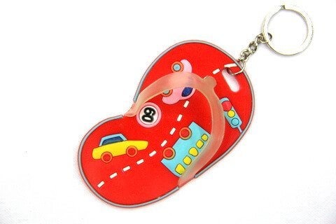Silicone / Rubber Soft Key Chain in Shapes of Slippers #02027-013