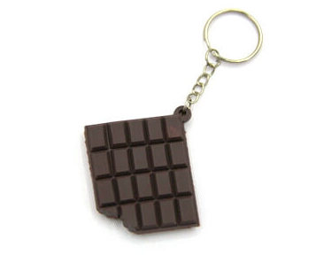 Silicone / rubber soft plastic key chain (ring) Chocolate shape