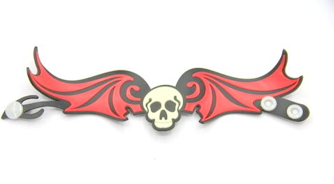 Silicone/Rubber (Soft Plastic) Bracelet Skull Wings #02029-012-3
