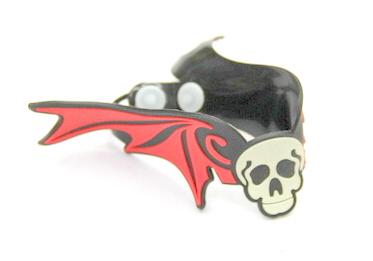 Silicone/Rubber (Soft Plastic) Bracelet Skull Wings #02029-012-2