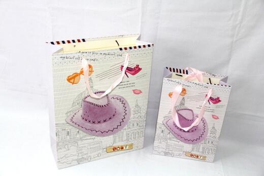 210g White cardboard Paper Bag for girls/women, #03016
