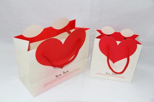 210g White cardboard gift Paper Bag, big red heart, #03017