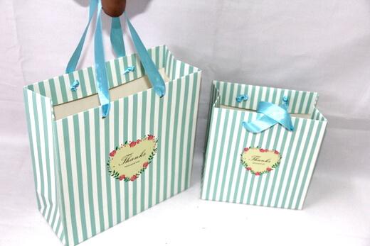 210g White cardboard Paper Bag, full print, stripes, matte, #03022