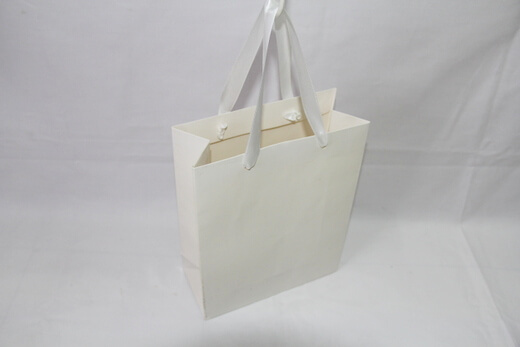Two sides 250g White cardboard Paper Bag, #03028