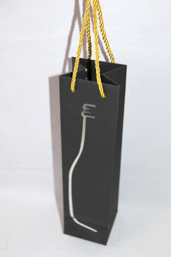 210g black cardboard wine bag with silver foil printing bottle shape, #03033
