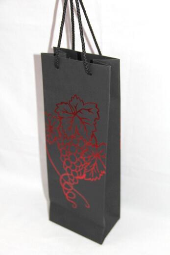 210g black cardboard wine bag with golden foil printing grape shape, #03034