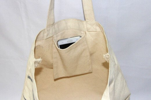 Reusable promotional cotton/canvas shopping totes with custom print/logo, inner pocket,  #04-000