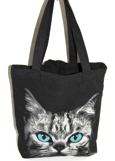 Reusable promotional cotton/canvas shopping totes with custom print/logo, cat, #04-012