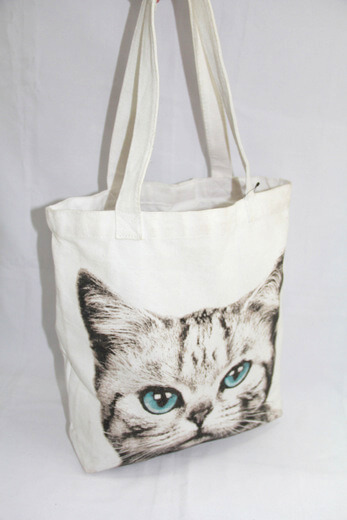 Reusable promotional cotton/canvas shopping totes with custom print/logo,cat, #04-018