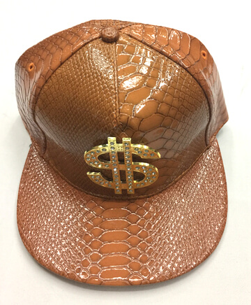 snake skin fake leather hats/caps, skull buckle & dollar sign, #0503-004